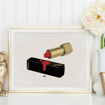 FASHION PRINT Makeup Print,Makeup Bathroom Decor,Coco Chanel Lipstick,Gift For Wife,Chanel Lipstick,Gift For Birthday,Gift For Girlfriend