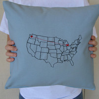 Heart Strings Map Pillow Blue by FelixStreetStudio on Etsy