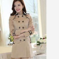 Lady patchwork design casual plus size long L-4XL fall and spring Fashiong woman jackets Slim Korean Style Double Chest