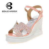 Sexy High Heels Ankle Buckle Straps Fashionable Summer Women Shoes Sweet Open Toe Platform Party Wedding Prom Wedges Sandals