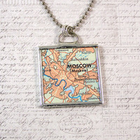 Moscow Russia Map Pendant Necklace