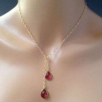 Red Rose, Tie Lariat necklace, red quartz, Vermeil bezel set, gold fill chain, dangle pendant necklace, red jewelry