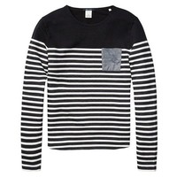 Navy Striped Form Sweater by Scotch & Soda