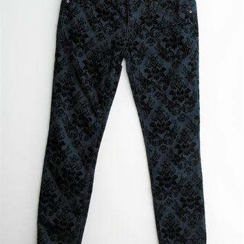 Free People Velvet Flocked Jacquard Stretch Skinny Jeans 26 NWT