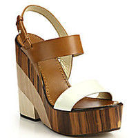 Jimmy Choo - Notion Wooden-Heeled Leather Sandals - Saks Fifth Avenue Mobile