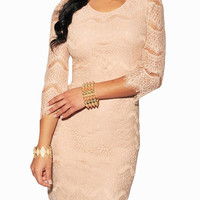 Beige Sheer Sleeve Eyelash Lace Mini Dress