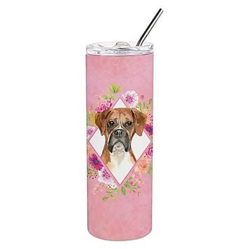 Boxer Pink Flowers Double Walled Stainless Steel 20 oz Skinny Tumbler CK4255TBL20