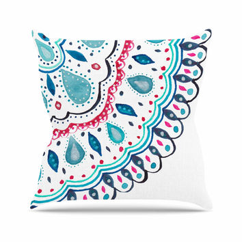"Li Zamperini ""Doile"" Teal Pink Watercolor Arabesque Outdoor Throw Pillow"