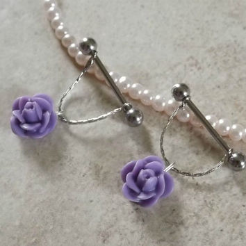 Purple Rose Nipple Ring on Chain Body Jewelry Body by BodyDazzles