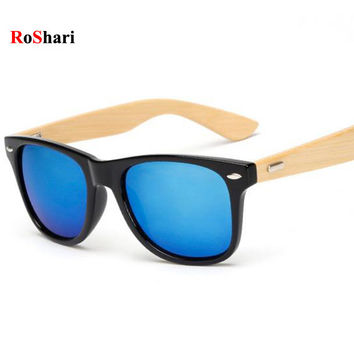 RoShari Vintage Bamboo Wood men Sunglasses Women Brand Designer black and blue UV400 Mirror Sun Glasses men oculos de sol