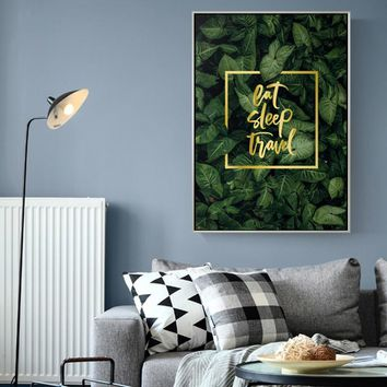Nordic Green Plant Big LeafCanvas Painting Gold Letters Poster And Prints Wall Art Picture For Living Room Restaurant Home Decor