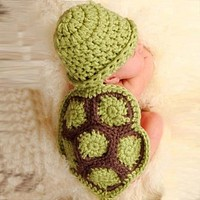 Green Turtle Baby Hat with Cape Set Children Photography Props Newborn Baby Crochet Animal Beanie Costume Set