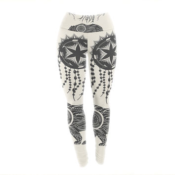 "Famenxt ""Boho Ornate Bear"" Beige Black Yoga Leggings"