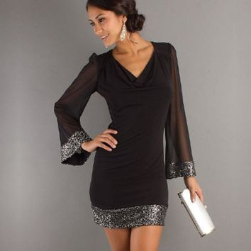 Women Casual V-Neck Sequined Long Sleeve Stitching  Mini Dress