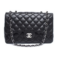 Pre-Owned Chanel Black Perforated Leather Maxi Single Flap Bag