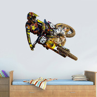 Full Color Wall Decal Mural Sticker Decor Art Poster Gift Dirty Bike Motocross Jump Motocycle Dirt Moto (col666)