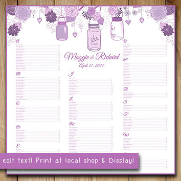 "Rustic Wedding Seating Chart Template | Mason Jar Lavender Purple Lilac Word Template | Editable Text | 22"" x 22"" Wedding Download"