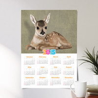 2015 wall calendar - Fawn - Christmas gift, new year, bambi, pet, poster, print, diary, month, year, calender, week, planner