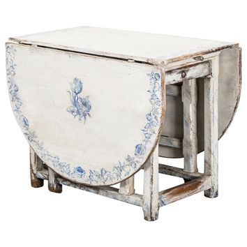 Table Drop-Leaf Swedish 18th Century White and Blue Delft Inspired Decor, Sweden
