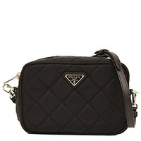 Prada Tessuto Small Black Quilted Nylon Crossbody Shoulder Bag BT1028
