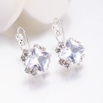 Fashion Stone Rhinestones girls White Square Crystal Drop Earrings For Women Statement Wedding Jewelry Pendientes Mujer