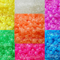 700 GLOW IN THE DARK 9mm Pony Beads For Kandi Kandy Rave craft Kid Bracelet hair