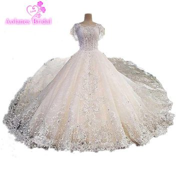 Real Photo 2017 Champagne High-end Luxury Lace Crystals Wedding Dress Backless Vintage Cathedral Train Ball Gown Bridal Gowns
