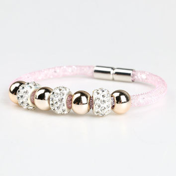 Pink Lattice Detail Stone And Crystal Beaded Bracelet