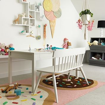 Flea Market Bench (White) in Play Chairs | The Land of Nod
