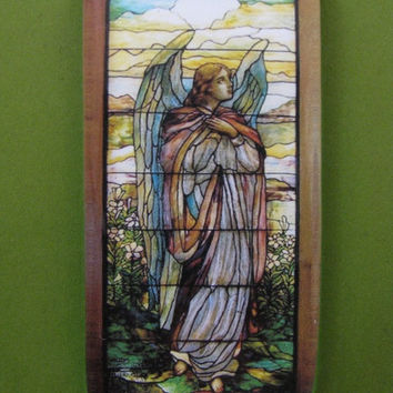 """Tiffany """"Angel I"""" Stained Glass Window Rectangle Glass Tile Paperweight Home Decor"""