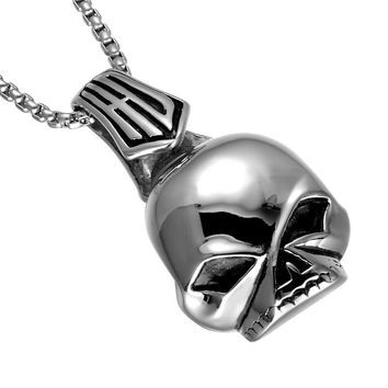 High Polished Punk Gothic Skull Pendant Necklace 316L Stainless Steel Head Skeleton Pendants Necklaces for Men Jewelry