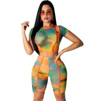 Women Two Piece Tie Dye Short Sleeve Crop Top Short Set