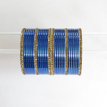 30 Blue Antique Gold Indian Metal Bangles/Bollywood Rhinestones Bangles Set/Bridal Wedding Blue Churi Bangles Bracelet Set/Long Cuff Bangles