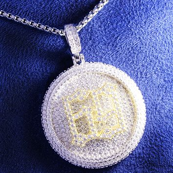 Iced Out Rapper 69 Two Tone Circle Spinner Pendant Chain
