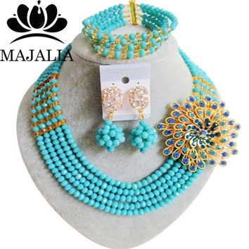 Trendy Nigeria Wedding african beads jewelry set Light Teal Blue crystal necklace bracelet earrings