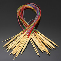 """18 Mixed Color Tube Circular Carbonized Pointed Bamboo Knitting Needles 32"""" 80cm = 1958506948"""