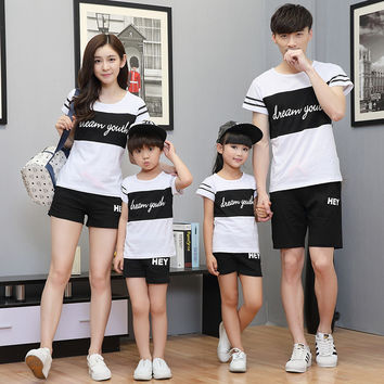 Sport family matching outfit mom and daughter clothes set father and son outfits big sister and little brothers Cotton suit