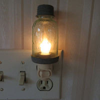 Country Mini Glass Mason Jar Night Light Barn Roof