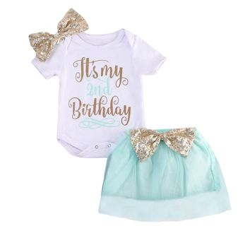 Newborn Baby Girls Birthday Outfit Clothes Cotton Jumpsuit+Mini Lace Tutu Skirt Infant Clothe