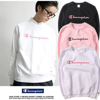 Cotton Pink Sports Hoodies Long Sleeve Round Necked Sport Sweatshirt Jumper Shirt Top Blouse _ 10157