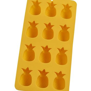 HIC Yellow Silicone Pineapple Shape Ice Cube Tray and Baking Mold
