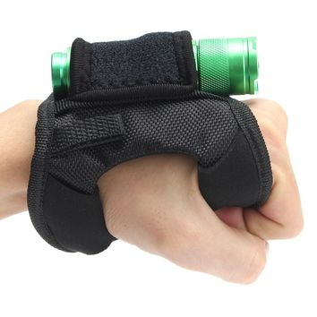 Durable Hand Free Light Holder Glove portable Diving Dive Underwater Torch holster Flashlight gloves with magic sticker buckle