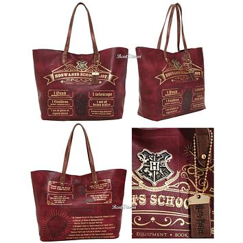 Licensed cool Harry Potter Hogwarts School List Tote Bag Beach Book Holder Purse Charm 18x12