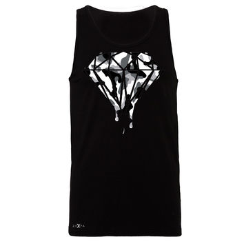 Zexpa Apparel™ Black n White Camo Dripping Diamond Men's Jersey Tank Melting Logo Sleeveless