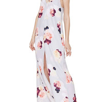 White Pink Floral Sleeveless Maxi Dress