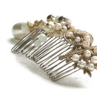 Gold Pearl Hair Comb, Vintage Milk Glass and Pearl Hair Jewelry,  Winter Wedding Accessory, OOAK Upcycled Hair Fashion, Gift For Her