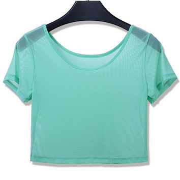 Summer Mesh Party Crop Top