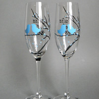 Hand painted wedding glasses personalized flutes Black trees and blue birds