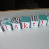 Baby Name Blocks, Name Blocks, Baby Girl, Newborn, Baby Shower, Baby Gift, Baby Blocks, Baby, Chevron, Aqua, Coral, Wooden Name Blocks