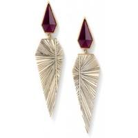 EBW534Y - Fossilized woolly mammoth and scrimshaw earrings with rhodolite - New Arrivals - Collections